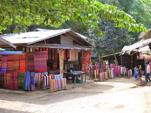 Handmade silk tapestries, Laos
