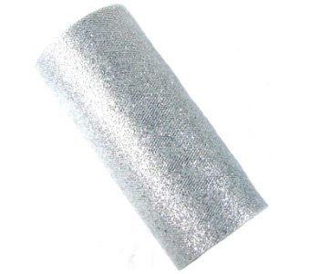 Offray Sparkle Tulle Craft Ribbon, 6-Inch by 25-Yard Spool, Silver