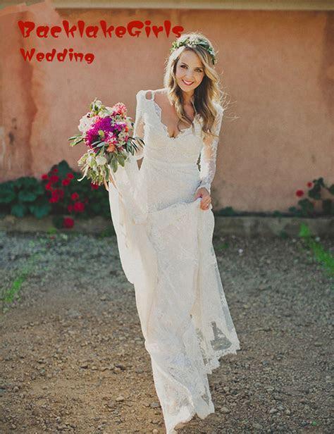 Lace Elegant V Neck Open Back White Long Sleeve Wedding