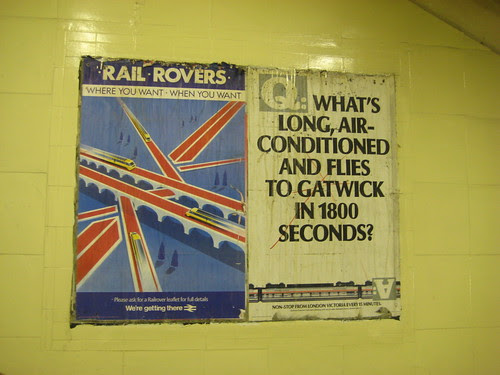 Old posters for Rail Rovers & Gatwick Express at Richmond Station