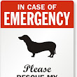 In Emergency, Dachshund Dog Rescue Label - Pet Rescue Sticker, SKU: LB-1585-Dachshund