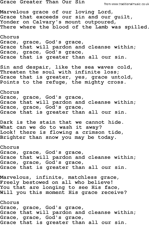 Grace Greater Than Our Sin Lyrics