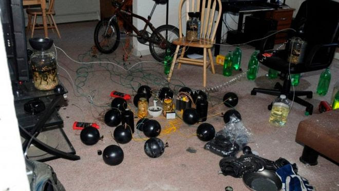 Booby traps in the apartment of James Holmes