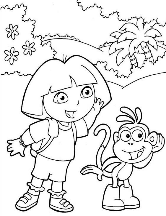Dora La Exploradora Y Su Amigo Botas Dibujos Para Colorear