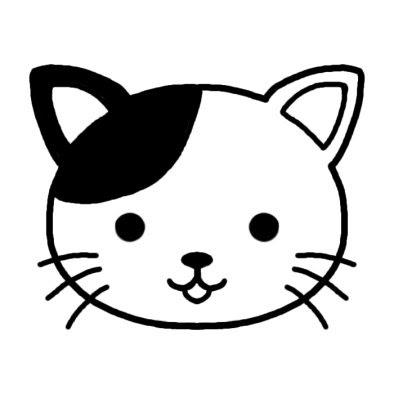 ネコ 猫 動物の顔 動物 無料 白黒イラスト素材