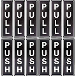 12 Pack Push and Pull Vertical Aluminum Sign Stickers, 1.5 x 5 inches Black Door Sign Labels for Office, Stores, Restaurants, Shops, Exit