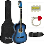 "Best Choice Products 38"" Beginner Acoustic Guitar Bundle Kit with Case, Strap, Tuner, Pick, Pitch Pipe, Strings - Blue"
