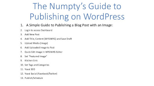 The Numpty's Guide to Publishing a Post on Wordpress