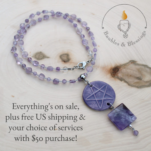 Amethyst pentagram necklace still available; fabulous deals, too!