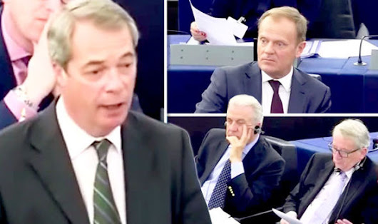 WATCH: Stoney-faced Eurocrats squirm as Nigel Farage NAILS Brussels over Dutch referendum