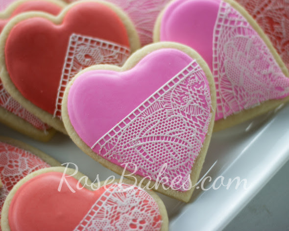 Pink Lace Valentine's Cookie