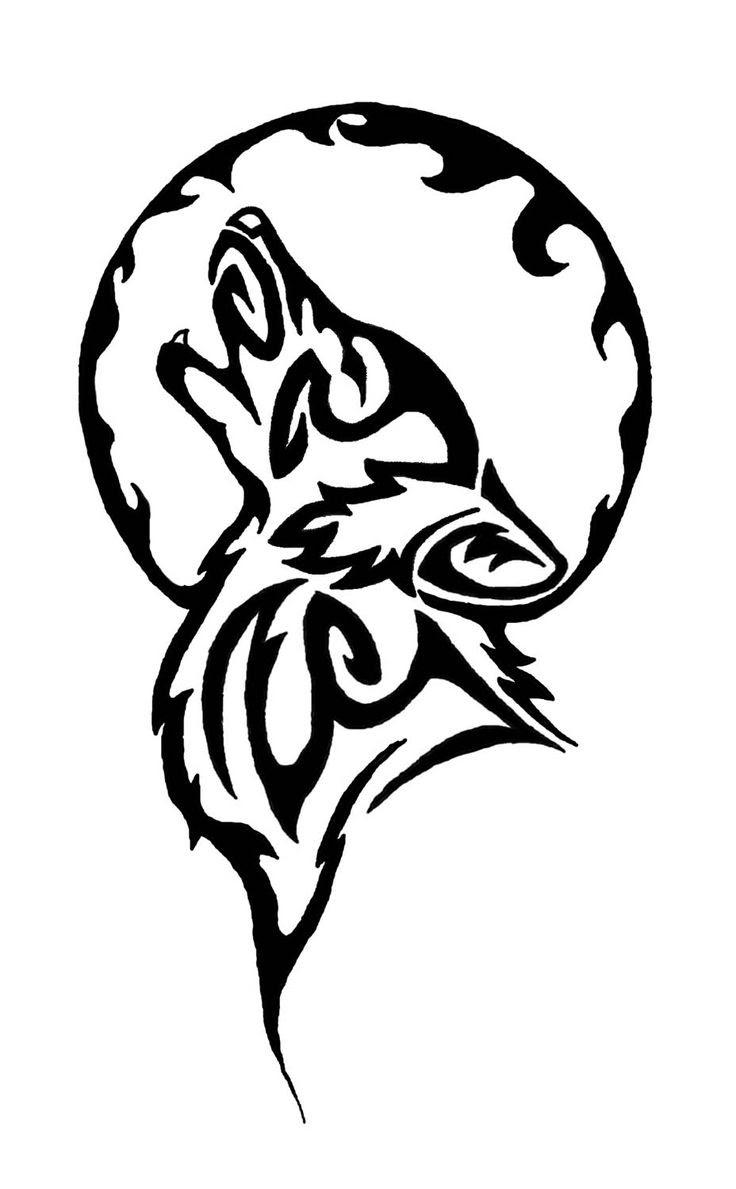 Tribal Howling Wolf Head Tattoo Design
