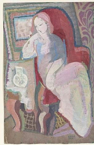 "Béla Kádár (1877-1956), Femme dans un fauteuil assise assinado ""Kadar BELA"".  Guache sobre papel.  Executado no final de 1930 ou início de 1940.  Estimativa £ 2.500 a £ 3.500"