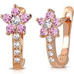 "925 Sterling Silver Rose Gold-Tone White Pink CZ Small Girls Hoop Huggie Flower Floral Earrings, 0.5"""