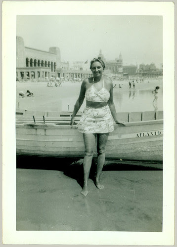 Woman with row boat in Atlantic City