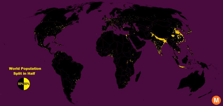 world population split in half map