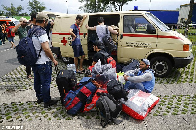 More than a hundred refugees were evacuated from the centre as the blaze started to take hold