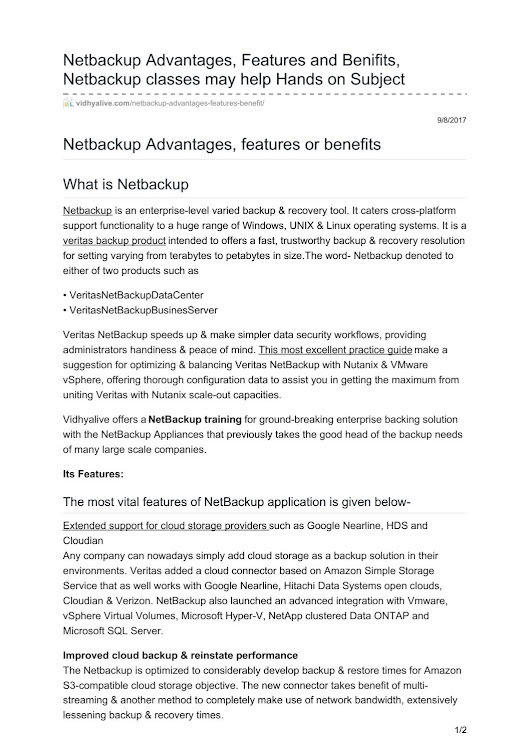 Vidhyalive com netbackup advantages features and benifits netbackup classes may help hands on subjec