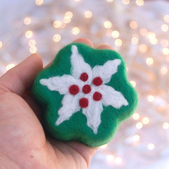 Felted Soap Green Soap with Holiday Flower (Hollyberry Scent)