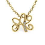 SuperJeweler A Initial Necklace in Yellow Gold with 6 Diamonds