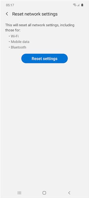 Toque Restablecer configuración en Samsung Galaxy