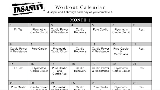 Insanity Workout Calendar and Schedule