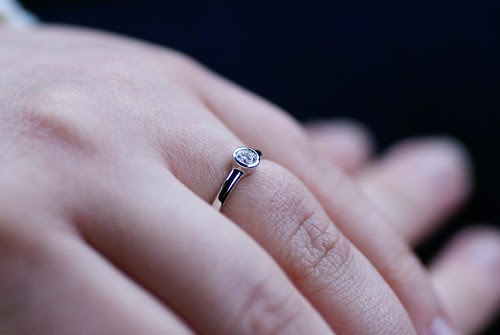 my hand with the ring on it. The ring is white gold with a solitaire diamond in a bezel setting.