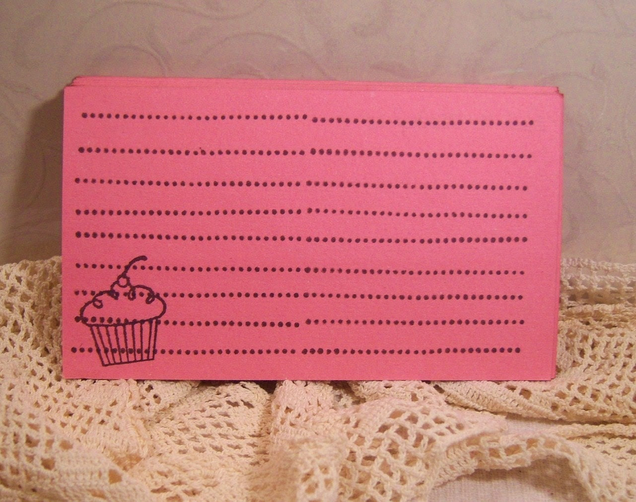 Set of 25 Vintage Inspired Recipe Cards Pink Shabby Sweet Eco Friendly