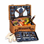 CC Home Furnishings Handwoven Insulated Willow Picnic Basket for 4 w/ Luxury Accessories - Navy