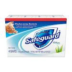 Safeguard Antibacterial Deodorant Bar Soap, White with Aloe, 4 oz, 4 Ct