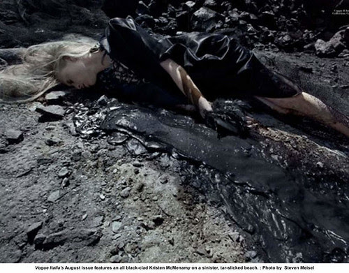 Vogue Italia's August issue features an all black-clad Kristen M cMenamy on a sinister, tar-slicked beach by artimageslibrary