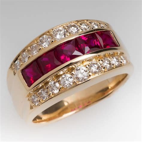 Wide Band Ruby & Diamond Ring 14K, Great Mens Pinky Ring