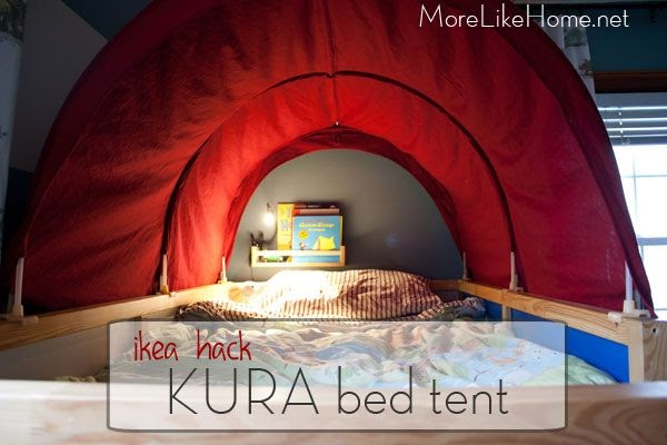 more like home ikea hack kura bed tent makeover. Black Bedroom Furniture Sets. Home Design Ideas