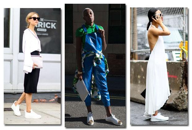Os tênis brancos são certeiros e ficam bem em qualquer look (Foto: Imaxtree)