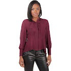 Standards & Practices Women's Red Pintuck and Drawstring Silk Blouse