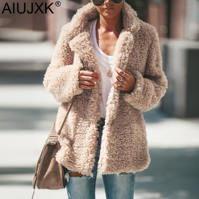 AIUJXK Aututumn Winter Fuzzy Cardigan Women Fashion 2019 Long Sleeve Warm Coat Female Plus Size 5xl