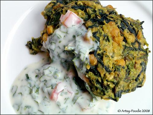 Pea Vine Patties w/ yogurt sauce