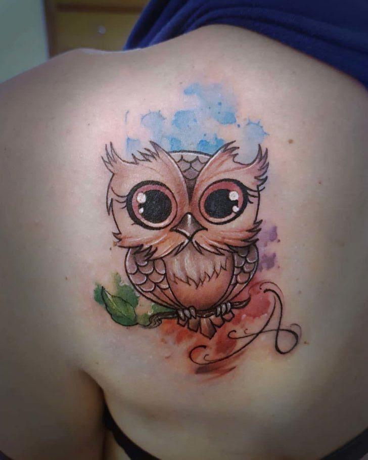 Cute Owl Tattoo On Shoulder Blade Best Tattoo Ideas Gallery