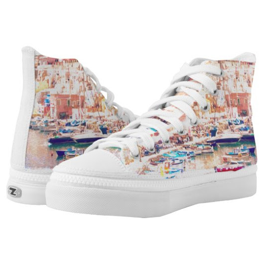 Vintage Art Italy Fishing Harbor High-Top Sneakers