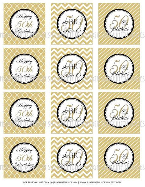 50th Birthday Printable DIY Party Tags and Cupcake Toppers