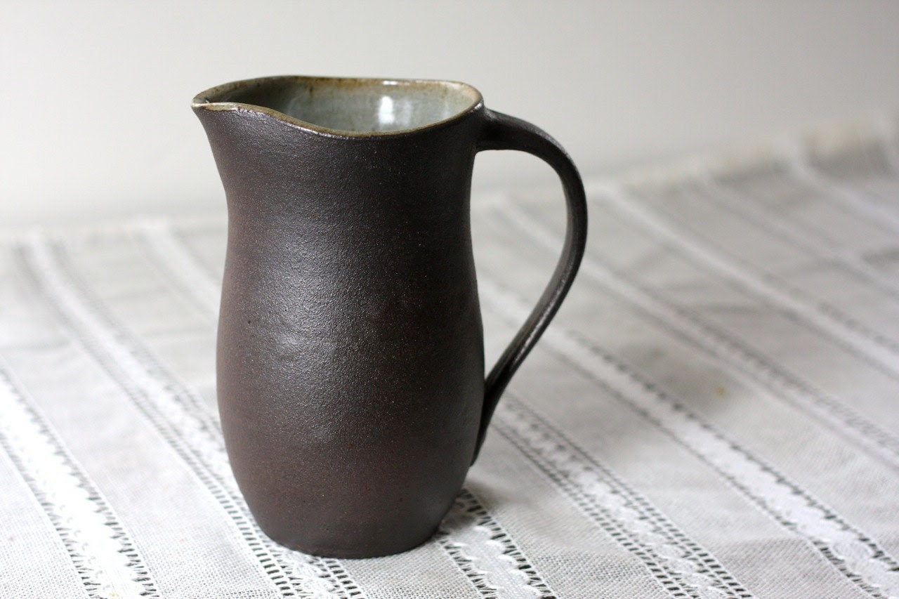 Pottery Pitcher - Dark Expresso Clay - Ceramic Vase - Medium