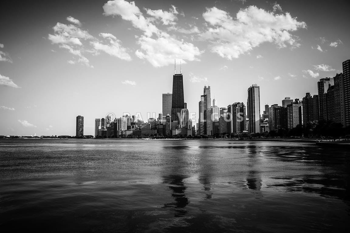 Art Print Stock Photo Chicago Skyline In Black And White Large