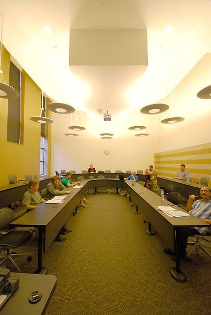 A modern looking presentation room.