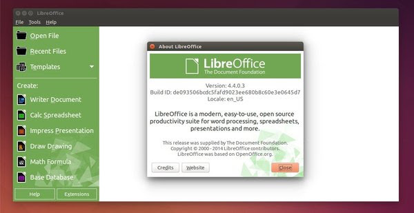 LibreOffice 4.4 StartCenter