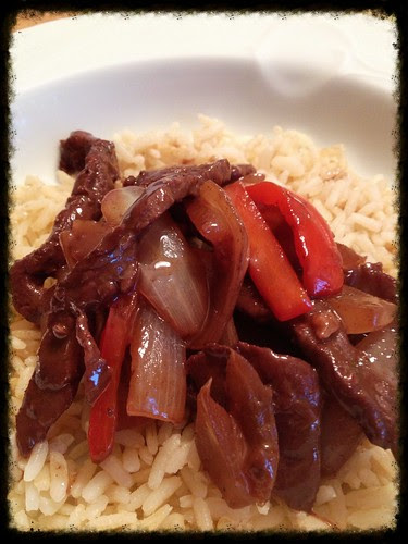 Pepper onion and steak stir-fry