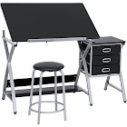 Best Choice Products Office Drawing Desk Station Adjustable Drafting Table Set with Stool Chair, Silver/Black