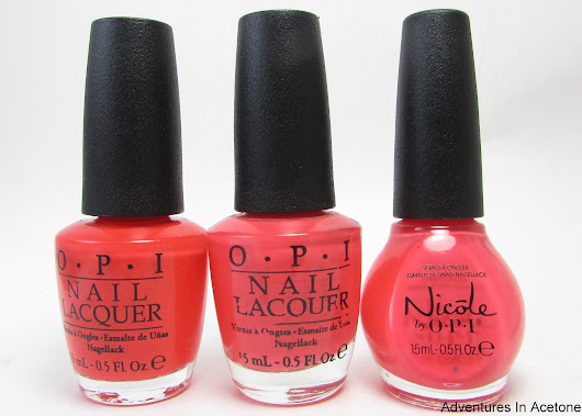 Comparison: OPI Aloha From OPI, OPI Live.Love.Carnaval, and Nicole by OPI The Coral of the Story - Adventures In Acetone