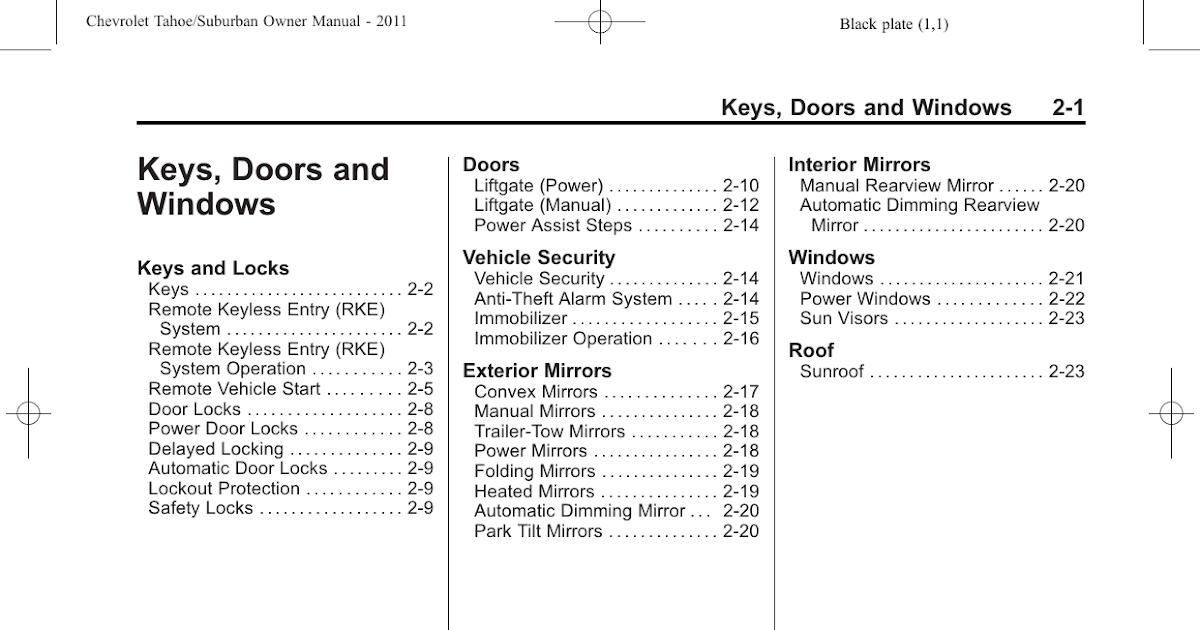 2011 Tahoe Owners Manual