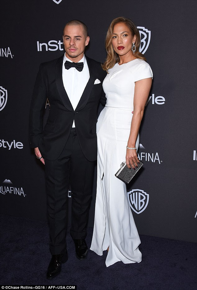 Date night: The star was joined by her boyfriend Casper Smart at the after-party, looking dapper in a tux
