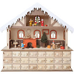 LED Lighted Santa's Workshop Wooden Advent Calendar - 24 Opening Drawers